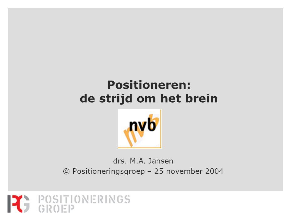 Positioneren: de strijd om het brein drs. M.A. Jansen © Positioneringsgroep – 25 november 2004