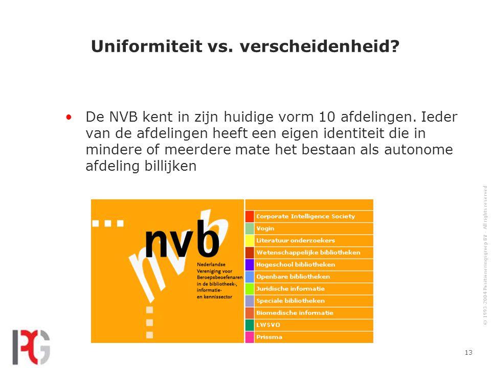 © 1993-2004 Positioneringsgroep BV - All rights reserved 13 Uniformiteit vs.