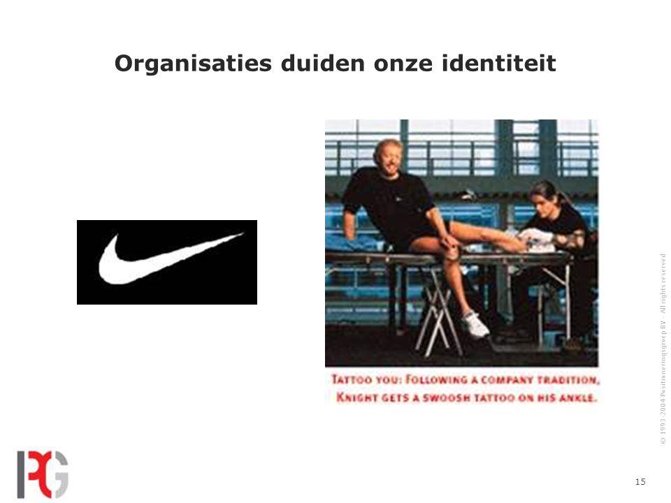 © 1993-2004 Positioneringsgroep BV - All rights reserved 15 Organisaties duiden onze identiteit