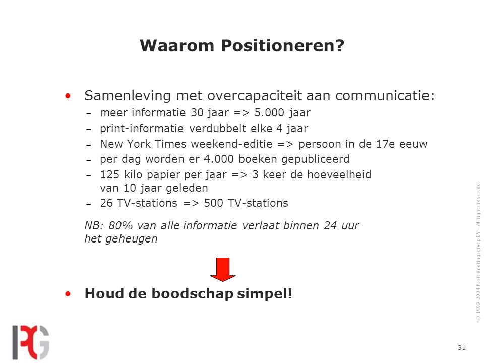 © 1993-2004 Positioneringsgroep BV - All rights reserved 31 Waarom Positioneren.