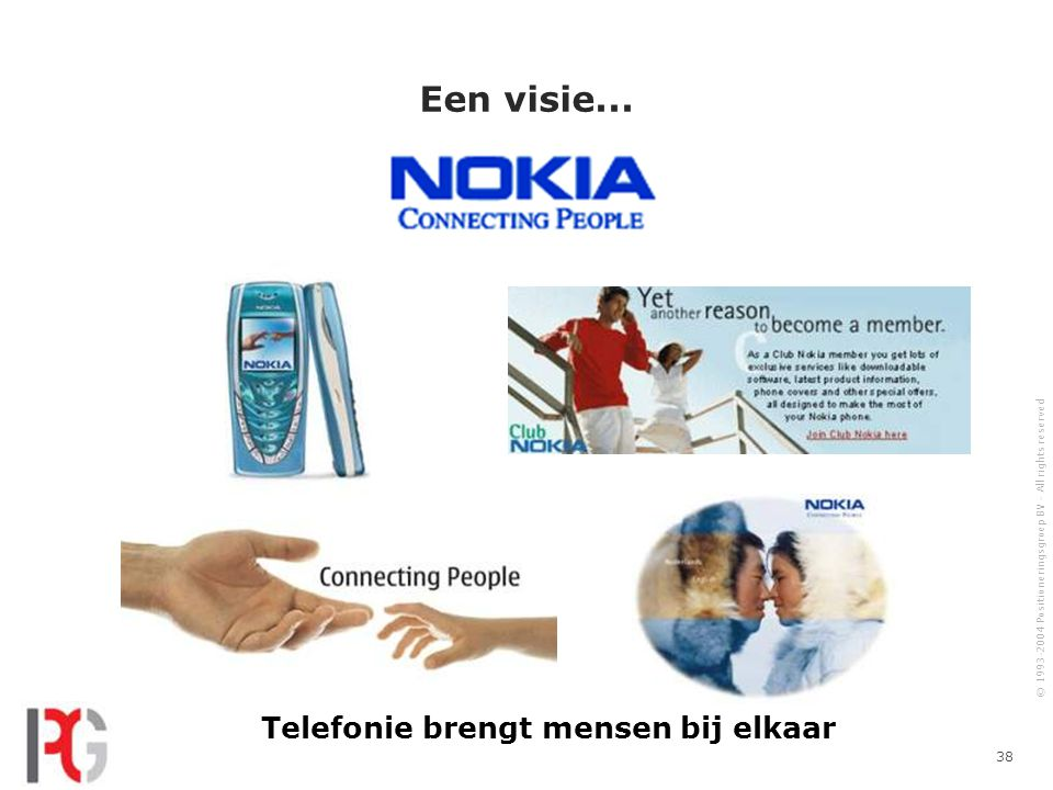 © 1993-2004 Positioneringsgroep BV - All rights reserved 38 Een visie...