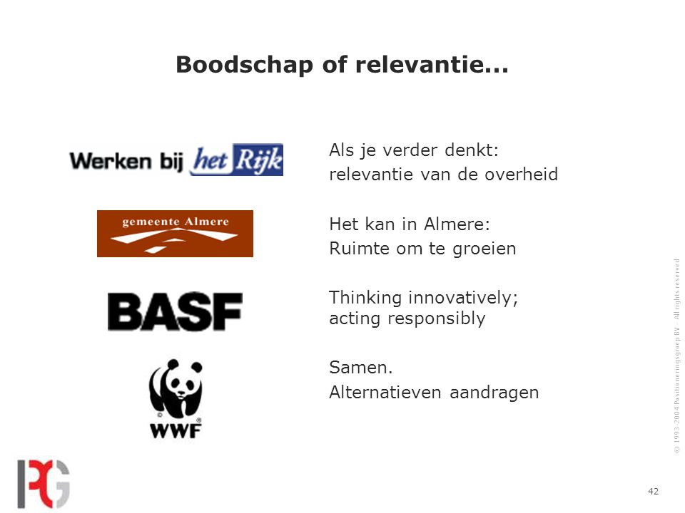 © 1993-2004 Positioneringsgroep BV - All rights reserved 42 Boodschap of relevantie...