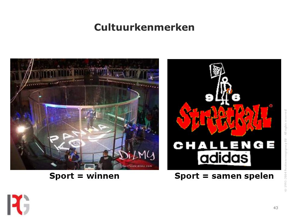 © 1993-2004 Positioneringsgroep BV - All rights reserved 43 Cultuurkenmerken Sport = winnenSport = samen spelen