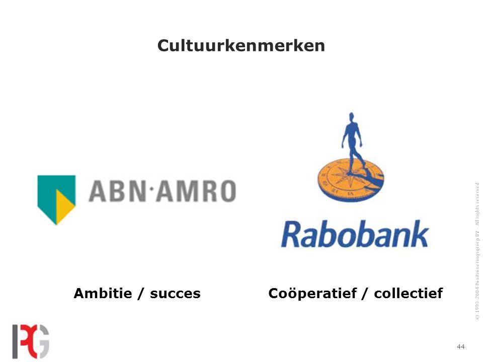 © 1993-2004 Positioneringsgroep BV - All rights reserved 44 Cultuurkenmerken Ambitie / succesCoöperatief / collectief