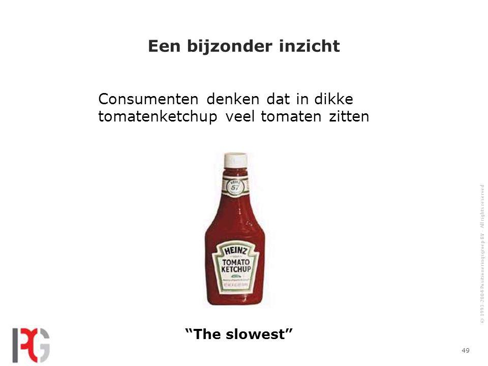 © 1993-2004 Positioneringsgroep BV - All rights reserved 49 Een bijzonder inzicht Consumenten denken dat in dikke tomatenketchup veel tomaten zitten The slowest