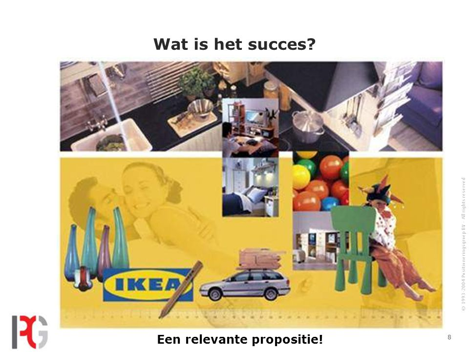 © 1993-2004 Positioneringsgroep BV - All rights reserved 29 Positioneringshiërarchie Proces Visie, missie, strategie PMC's, competenties, identiteit Onderwerpen 1.