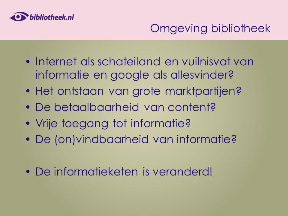 Omgeving bibliotheek Internet als schateiland en vuilnisvat van informatie en google als allesvinder.