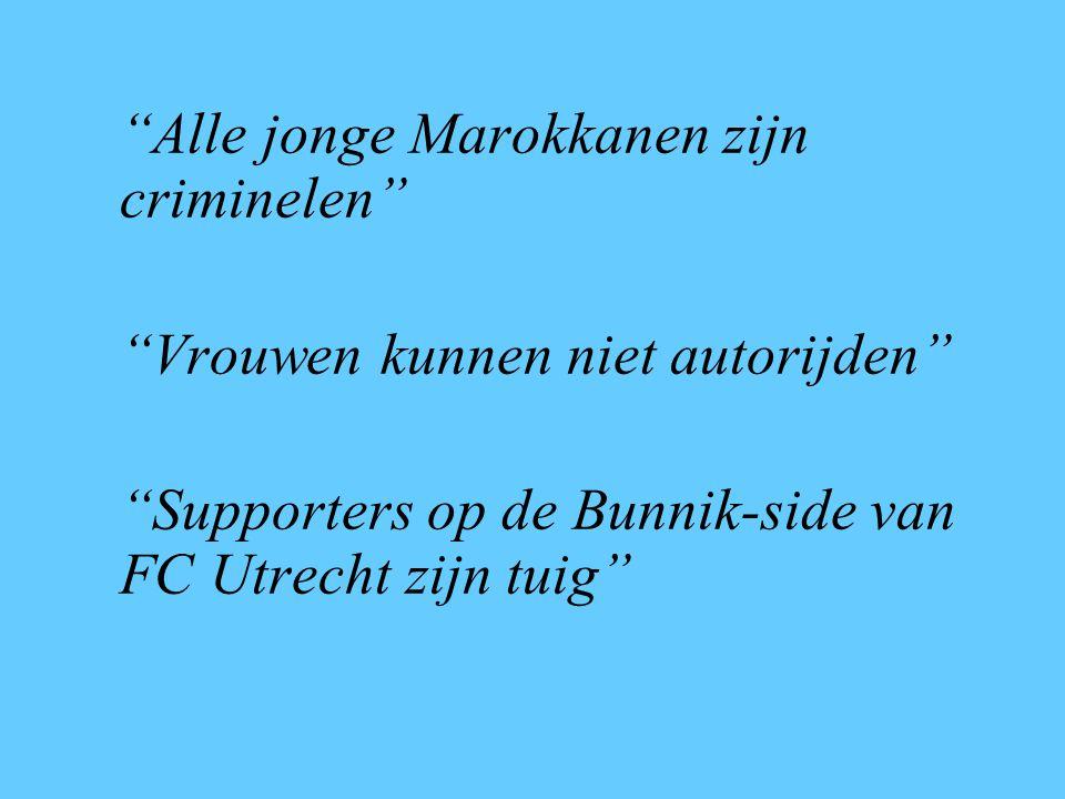 Alle jonge Marokkanen zijn criminelen Vrouwen kunnen niet autorijden Supporters op de Bunnik-side van FC Utrecht zijn tuig