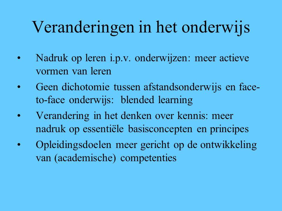 Veranderingen in het onderwijs Nadruk op leren i.p.v.