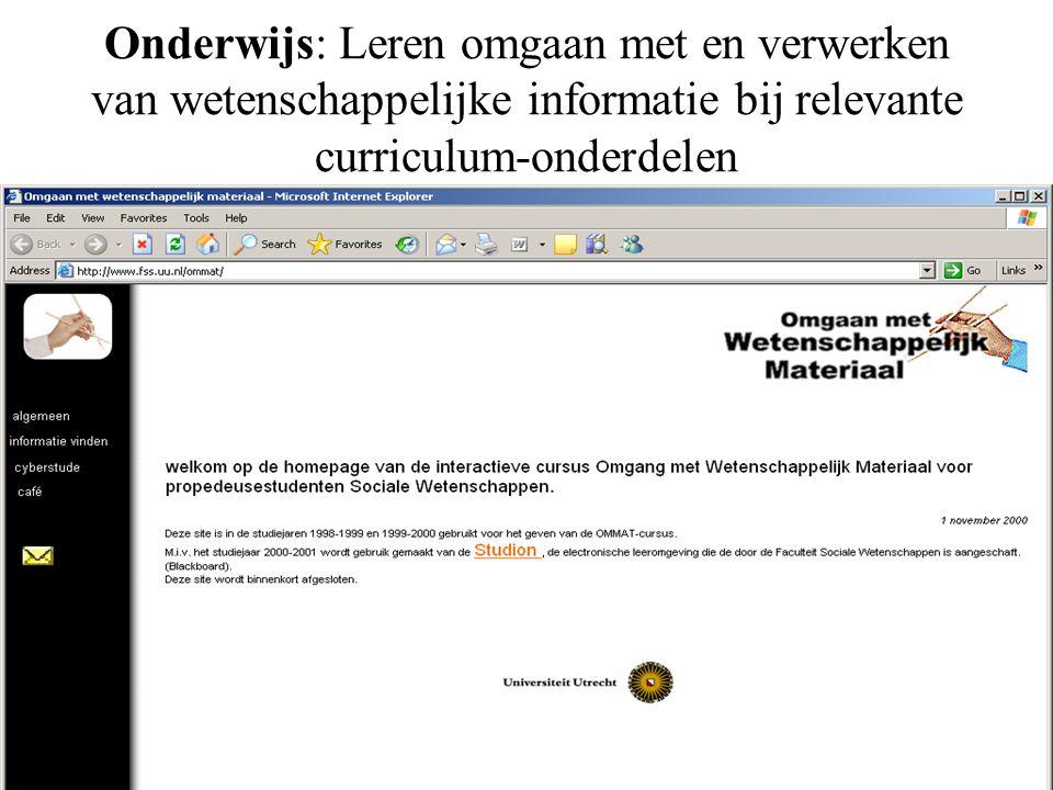 Onderwijs: Leren omgaan met en verwerken van wetenschappelijke informatie bij relevante curriculum-onderdelen