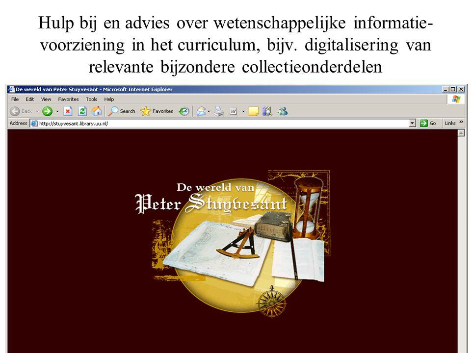 Hulp bij en advies over wetenschappelijke informatie- voorziening in het curriculum, bijv.