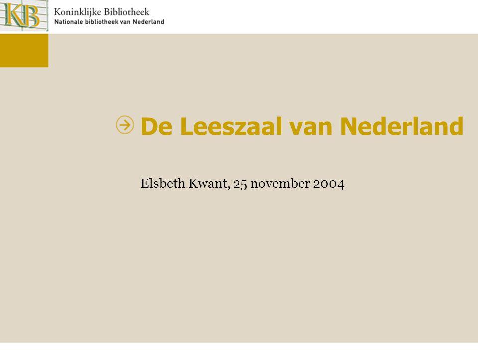De Leeszaal van Nederland Elsbeth Kwant, 25 november 2004
