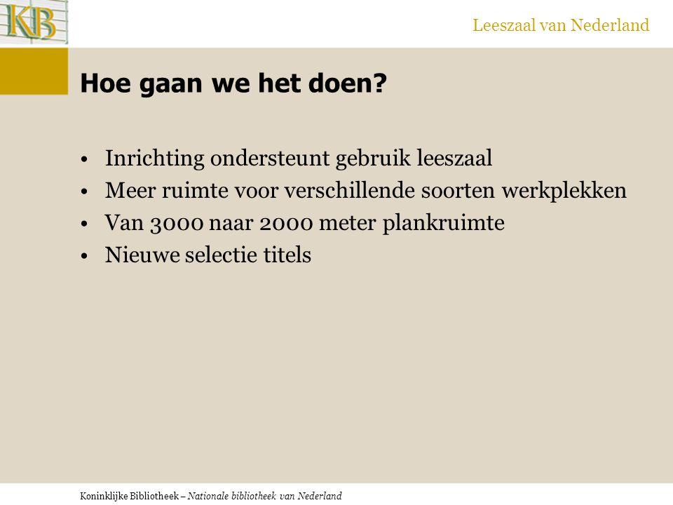 Koninklijke Bibliotheek – Nationale bibliotheek van Nederland Leeszaal van Nederland Hoe gaan we het doen.