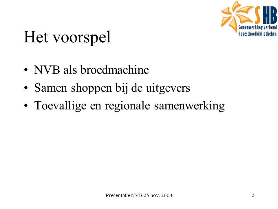 Presentatie NVB 25 nov. 20042 Het voorspel NVB als broedmachine Samen shoppen bij de uitgevers Toevallige en regionale samenwerking