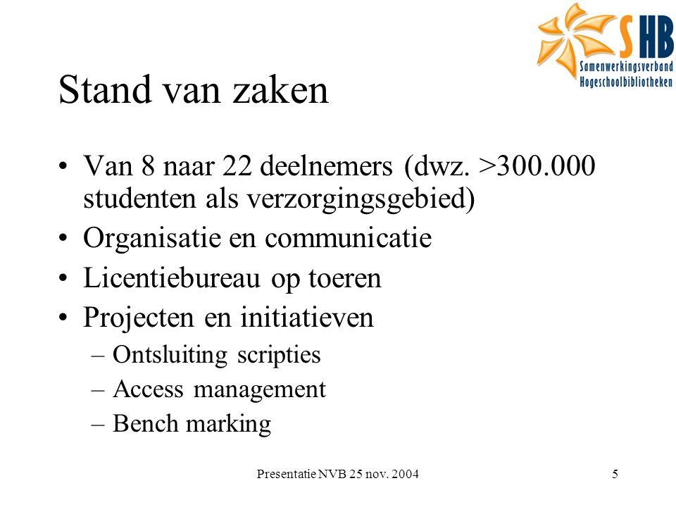 Presentatie NVB 25 nov. 20045 Stand van zaken Van 8 naar 22 deelnemers (dwz. >300.000 studenten als verzorgingsgebied) Organisatie en communicatie Lic