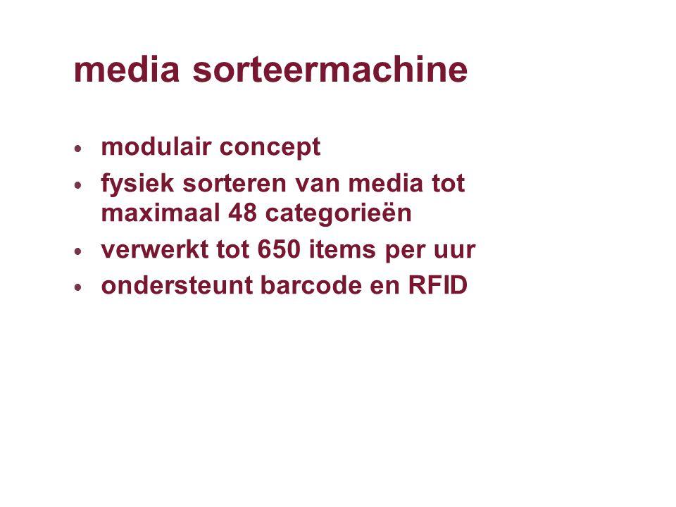 media sorteermachine modulair concept fysiek sorteren van media tot maximaal 48 categorieën verwerkt tot 650 items per uur ondersteunt barcode en RFID