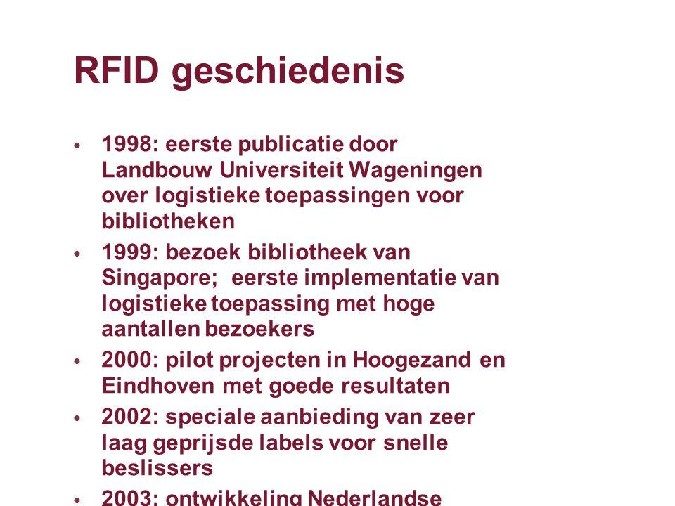 RFID geschiedenis 1998: eerste publicatie door Landbouw Universiteit Wageningen over logistieke toepassingen voor bibliotheken 1999: bezoek bibliothee
