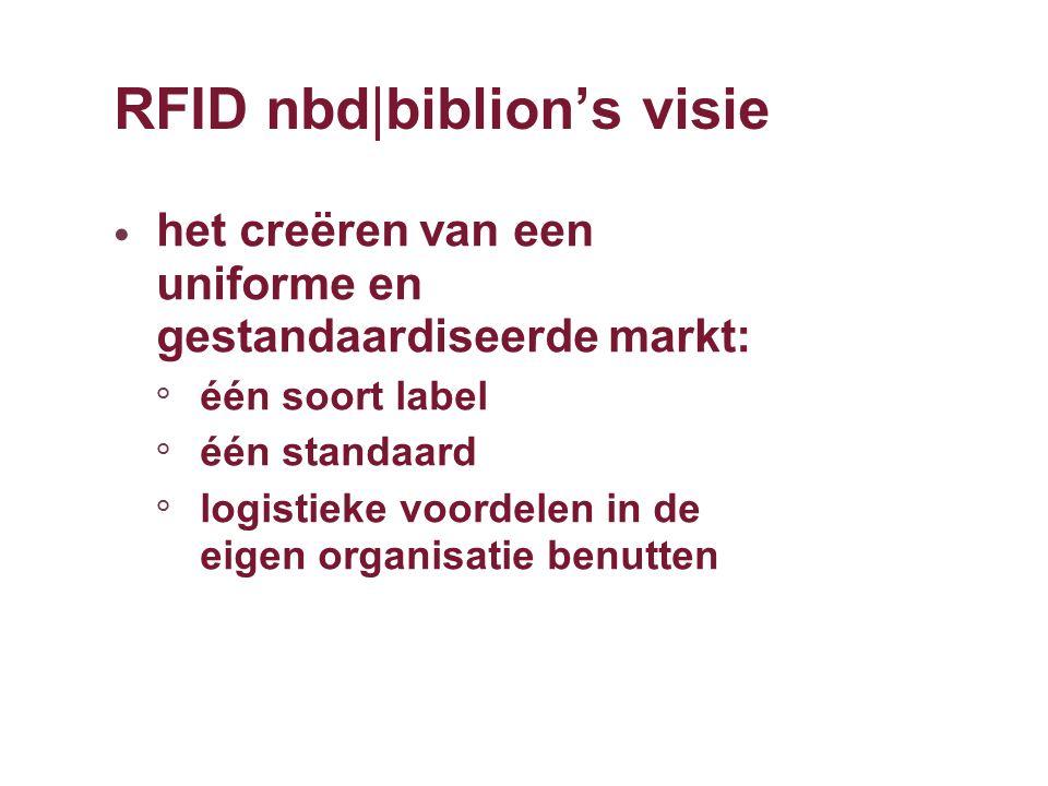 RFID nbd|biblion's visie het creëren van een uniforme en gestandaardiseerde markt: ° één soort label ° één standaard ° logistieke voordelen in de eige