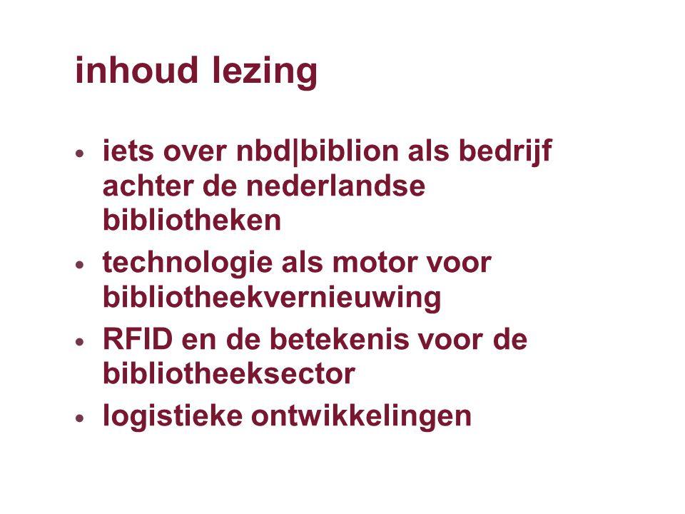 inhoud lezing iets over nbd|biblion als bedrijf achter de nederlandse bibliotheken technologie als motor voor bibliotheekvernieuwing RFID en de betekenis voor de bibliotheeksector logistieke ontwikkelingen