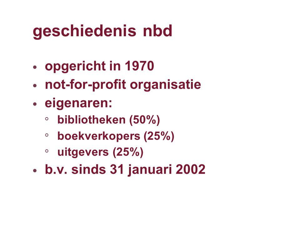 geschiedenis nbd opgericht in 1970 not-for-profit organisatie eigenaren: ° bibliotheken (50%) ° boekverkopers (25%) ° uitgevers (25%) b.v.
