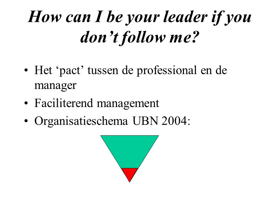 How can I be your leader if you don't follow me.