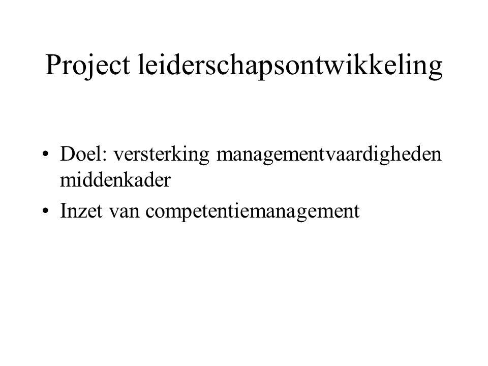 Project leiderschapsontwikkeling Doel: versterking managementvaardigheden middenkader Inzet van competentiemanagement