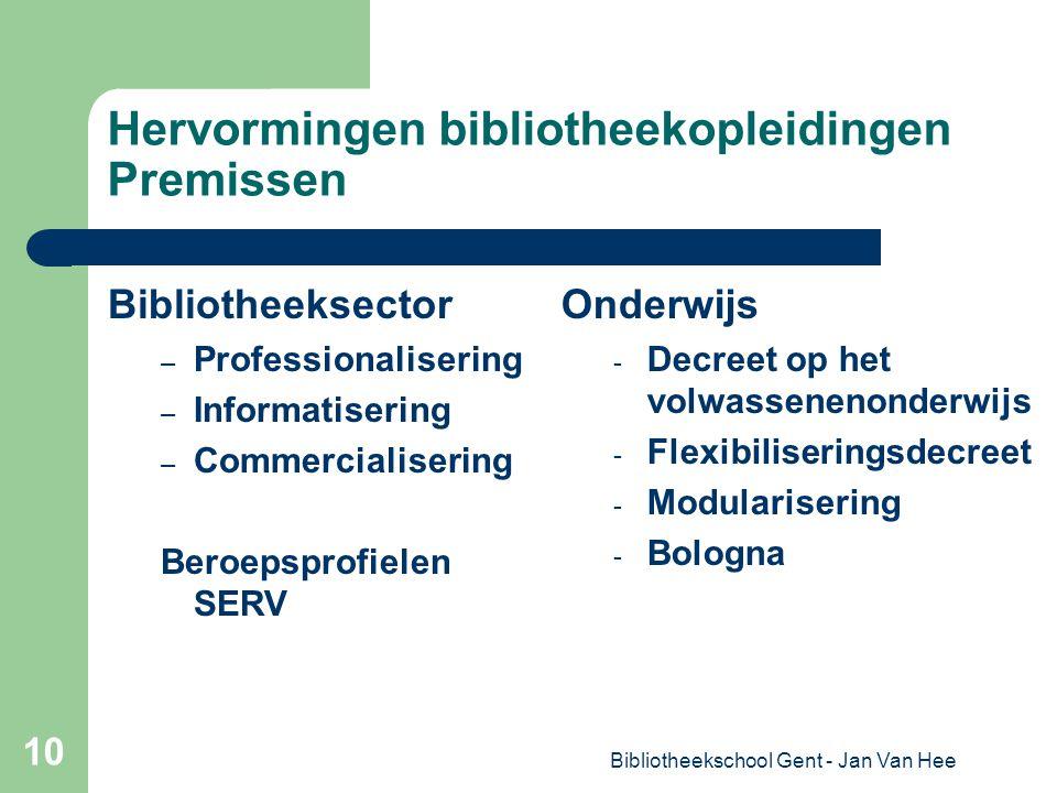 Bibliotheekschool Gent - Jan Van Hee 10 Hervormingen bibliotheekopleidingen Premissen Bibliotheeksector – Professionalisering – Informatisering – Commercialisering Beroepsprofielen SERV Onderwijs - Decreet op het volwassenenonderwijs - Flexibiliseringsdecreet - Modularisering - Bologna