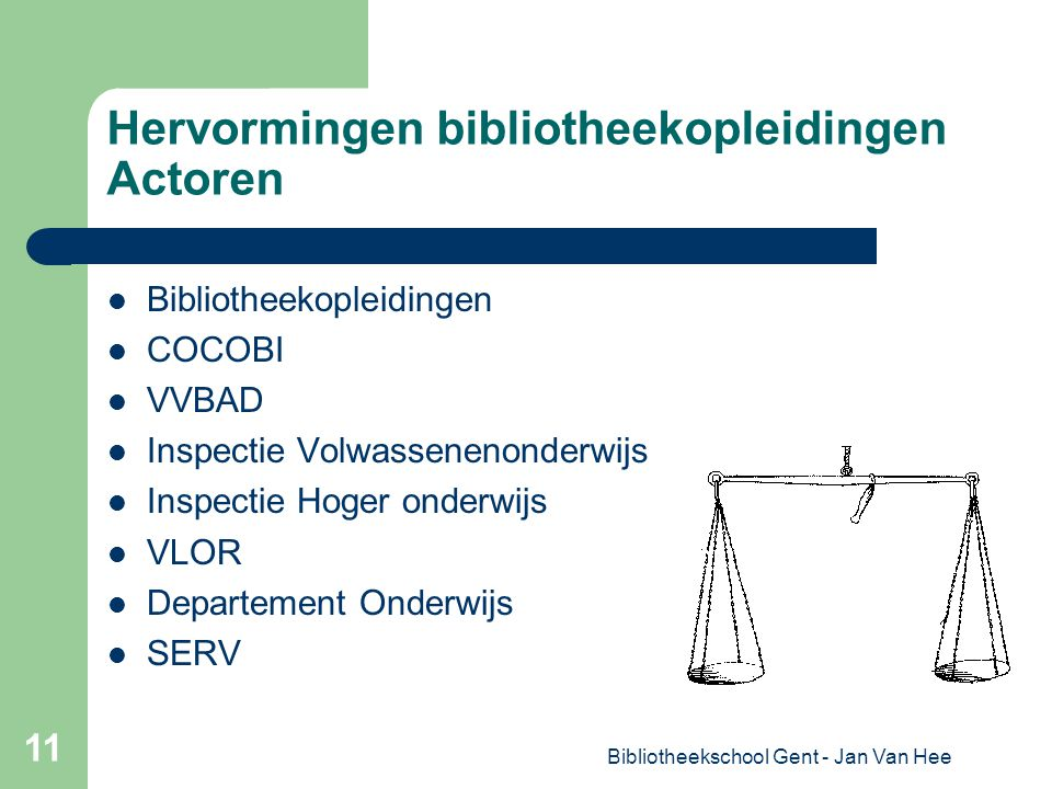 Bibliotheekschool Gent - Jan Van Hee 11 Hervormingen bibliotheekopleidingen Actoren Bibliotheekopleidingen COCOBI VVBAD Inspectie Volwassenenonderwijs Inspectie Hoger onderwijs VLOR Departement Onderwijs SERV