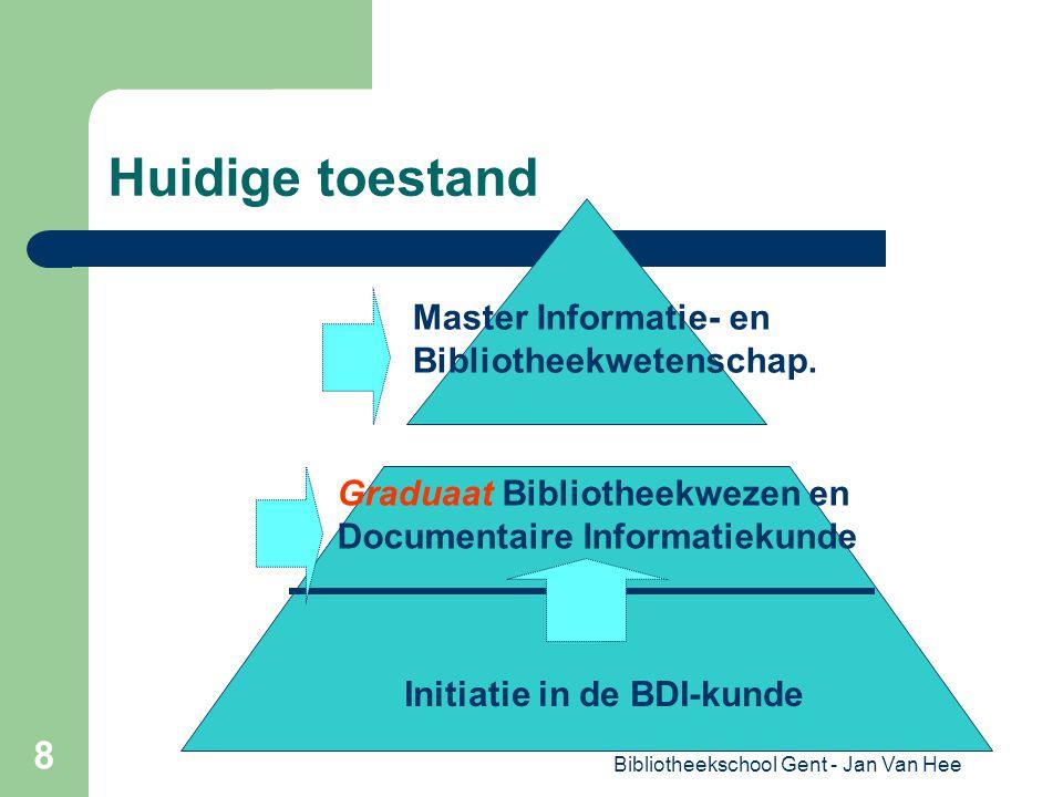 Bibliotheekschool Gent - Jan Van Hee 8 Huidige toestand Initiatie in de BDI-kunde Graduaat Bibliotheekwezen en Documentaire Informatiekunde Master Informatie- en Bibliotheekwetenschap.