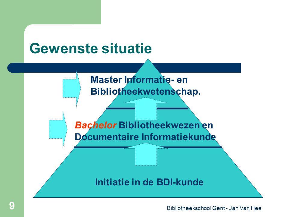 Bibliotheekschool Gent - Jan Van Hee 9 Gewenste situatie Master Informatie- en Bibliotheekwetenschap.
