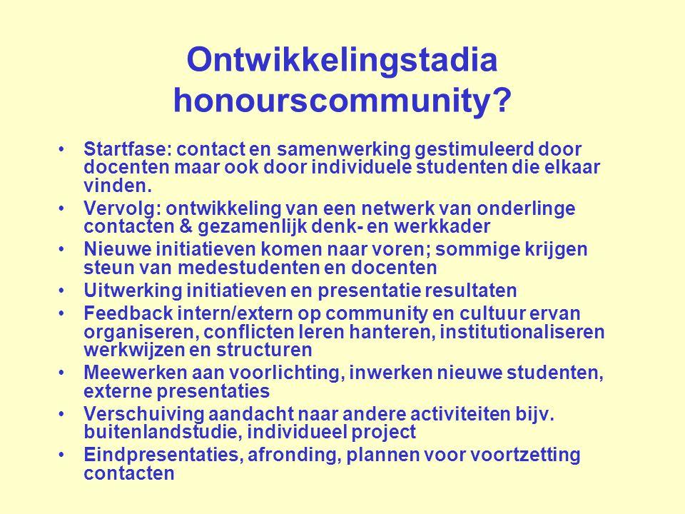 Ontwikkelingstadia honourscommunity? Startfase: contact en samenwerking gestimuleerd door docenten maar ook door individuele studenten die elkaar vind