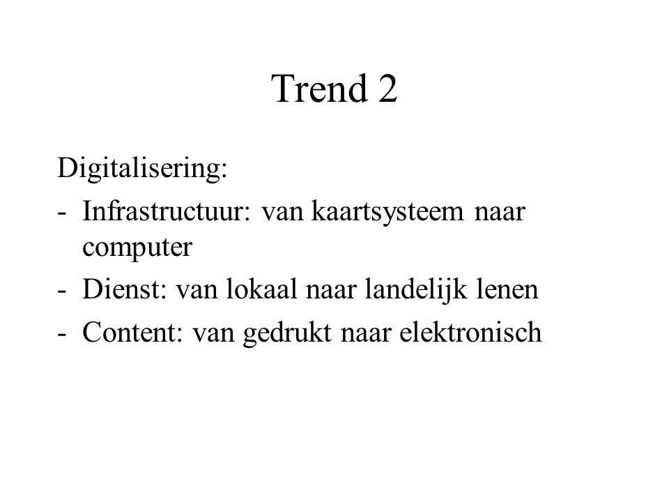 Trend 2 Digitalisering: -Infrastructuur: van kaartsysteem naar computer -Dienst: van lokaal naar landelijk lenen -Content: van gedrukt naar elektronisch