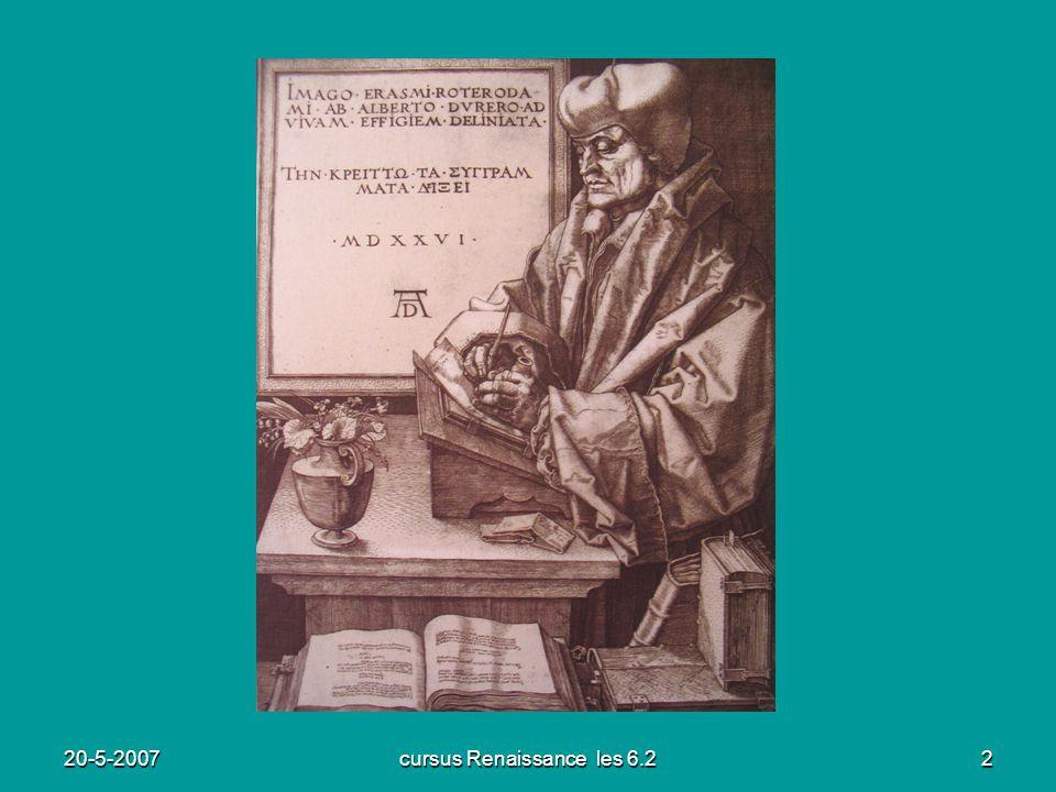 20-5-2007cursus Renaissance les 6.23 Leven van Erasmus (1) Geboren in Rotterdam in 1466 als buitenechtelijk kind van een priester.