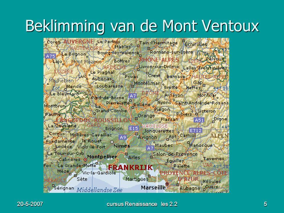 20-5-2007cursus Renaissance les 2.25 Beklimming van de Mont Ventoux