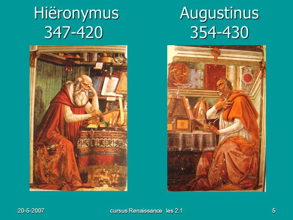 20-5-2007cursus Renaissance les 2.15 Hiëronymus Augustinus 347-420 354-430