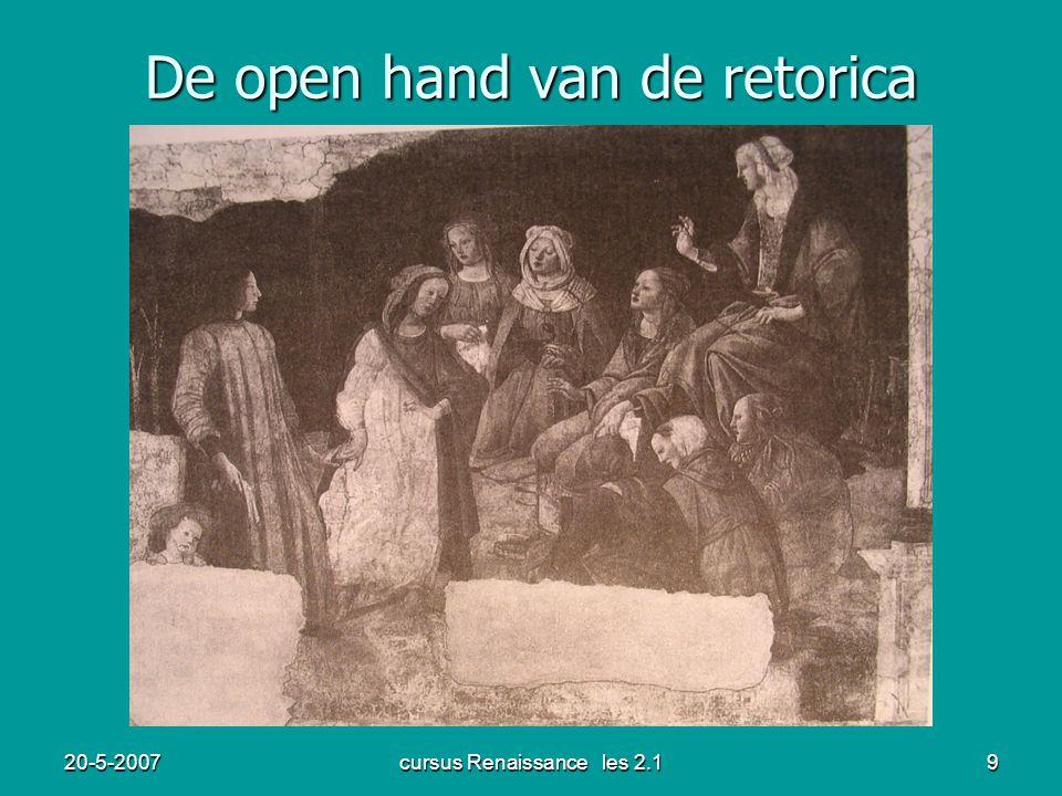 20-5-2007cursus Renaissance les 2.19 De open hand van de retorica