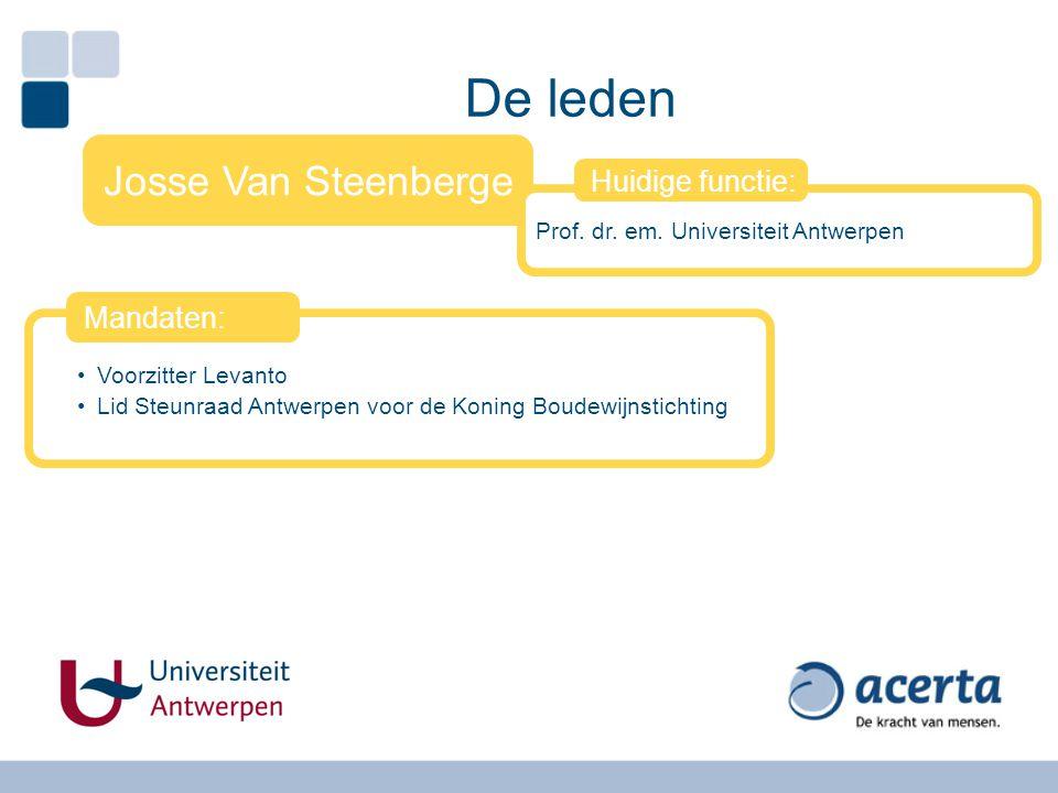 De leden Josse Van Steenberge Prof. dr. em. Universiteit Antwerpen Huidige functie: Voorzitter Levanto Lid Steunraad Antwerpen voor de Koning Boudewij