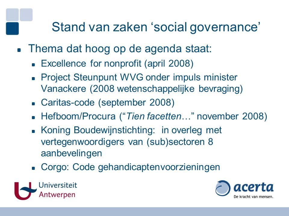 Stand van zaken 'social governance' Thema dat hoog op de agenda staat: Excellence for nonprofit (april 2008) Project Steunpunt WVG onder impuls minist