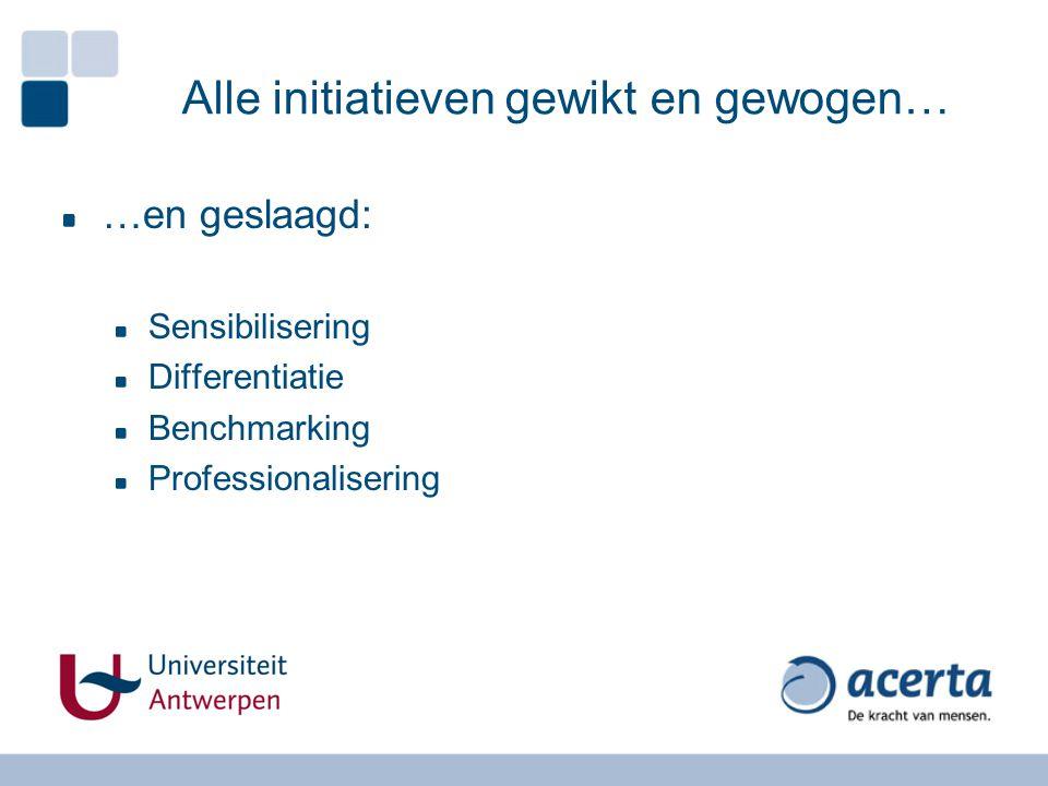 Alle initiatieven gewikt en gewogen… …en geslaagd: Sensibilisering Differentiatie Benchmarking Professionalisering