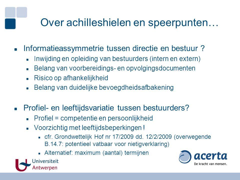 Over achilleshielen en speerpunten… Informatieassymmetrie tussen directie en bestuur ? Inwijding en opleiding van bestuurders (intern en extern) Belan