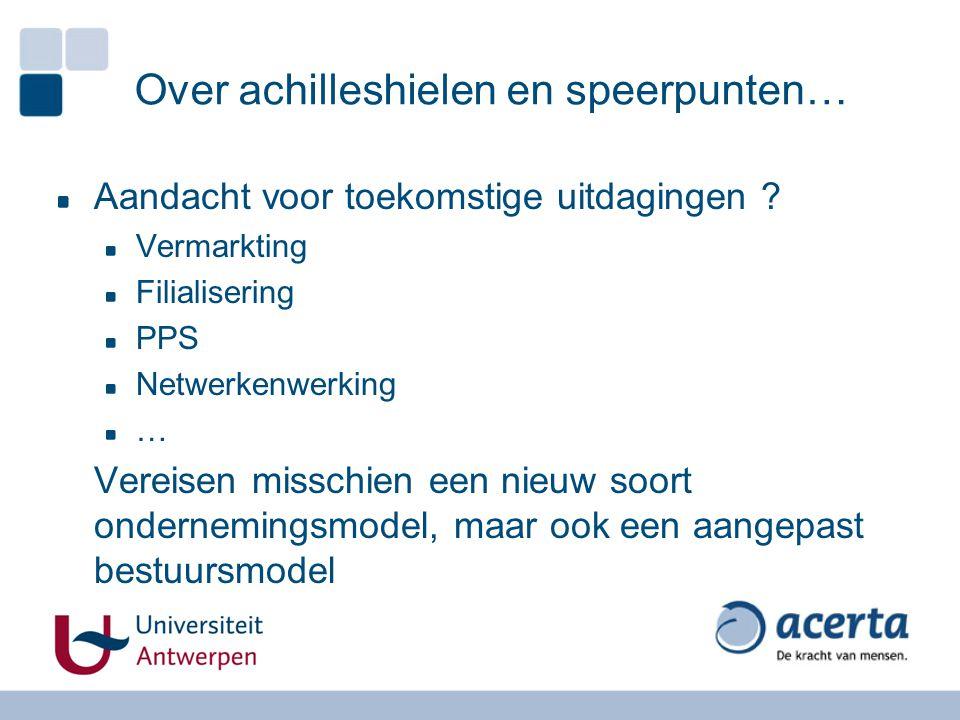Over achilleshielen en speerpunten… Aandacht voor toekomstige uitdagingen ? Vermarkting Filialisering PPS Netwerkenwerking … Vereisen misschien een ni