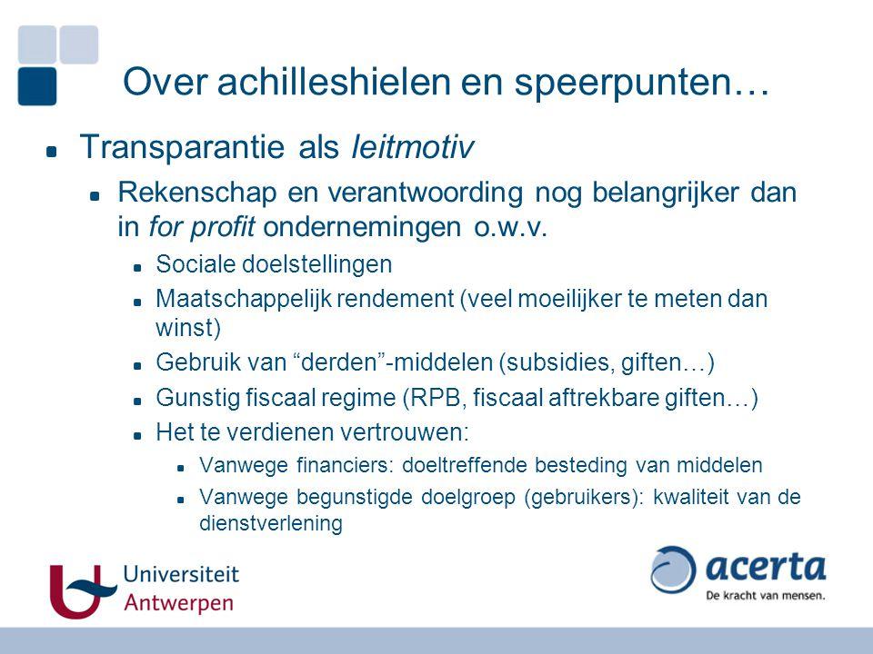 Over achilleshielen en speerpunten… Transparantie als leitmotiv Rekenschap en verantwoording nog belangrijker dan in for profit ondernemingen o.w.v. S