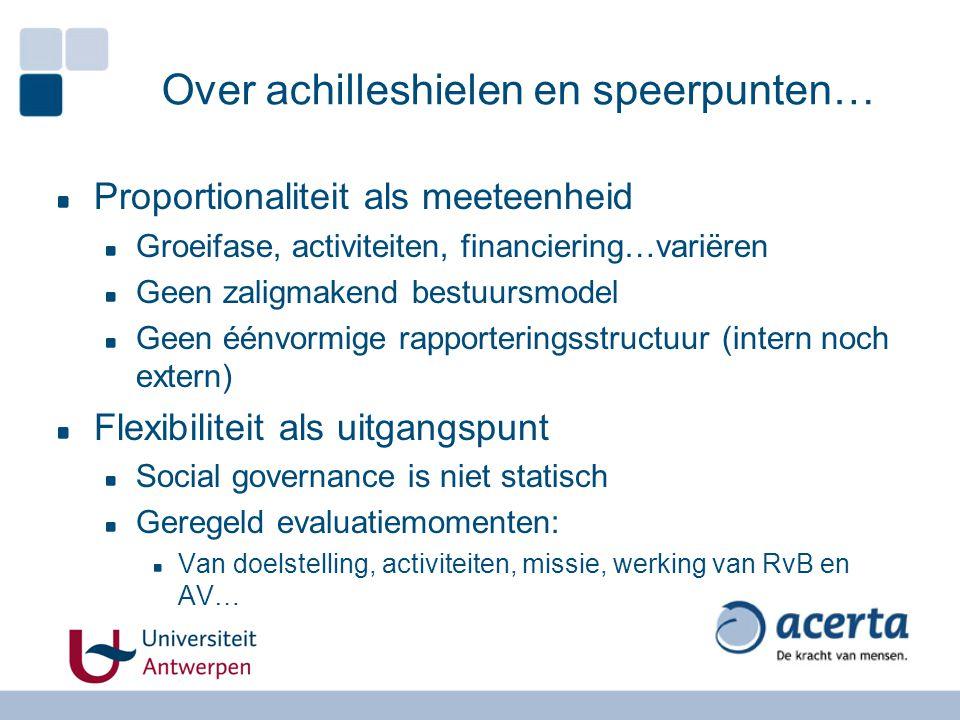 Over achilleshielen en speerpunten… Proportionaliteit als meeteenheid Groeifase, activiteiten, financiering…variëren Geen zaligmakend bestuursmodel Ge