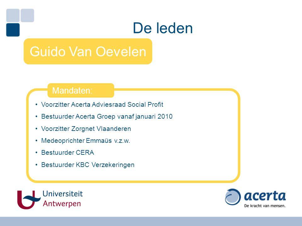 De leden Guido Van Oevelen Voorzitter Acerta Adviesraad Social Profit Bestuurder Acerta Groep vanaf januari 2010 Voorzitter Zorgnet Vlaanderen Medeopr