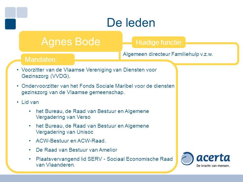 Algemeen directeur Familiehulp v.z.w. De leden Agnes Bode Voorzitter van de Vlaamse Vereniging van Diensten voor Gezinszorg (VVDG). Ondervoorzitter va