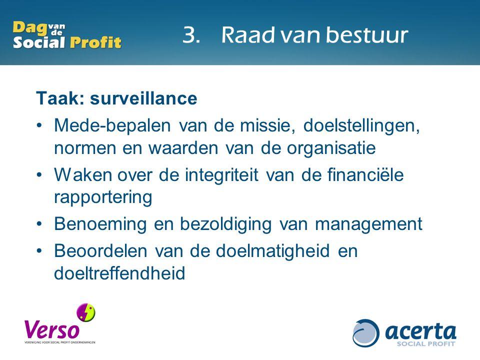 3.Raad van bestuur Taak: surveillance Mede-bepalen van de missie, doelstellingen, normen en waarden van de organisatie Waken over de integriteit van de financiële rapportering Benoeming en bezoldiging van management Beoordelen van de doelmatigheid en doeltreffendheid