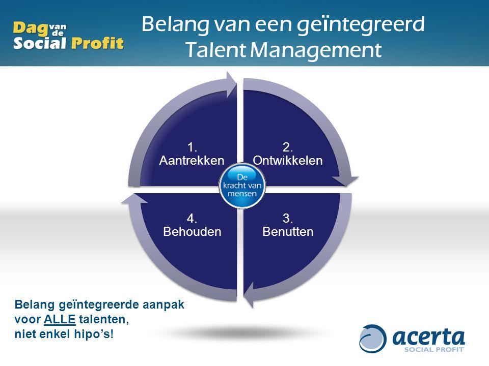 2. Ontwikkelen 3. Benutten 4. Behouden 1. Aantrekken Belang van een ge ï ntegreerd Talent Management Belang geïntegreerde aanpak voor ALLE talenten, n