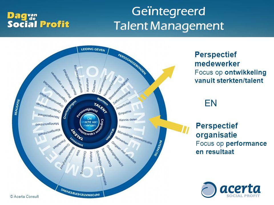 Ge ï ntegreerd Talent Management Perspectief medewerker Focus op ontwikkeling vanuit sterkten/talent Perspectief organisatie Focus op performance en r