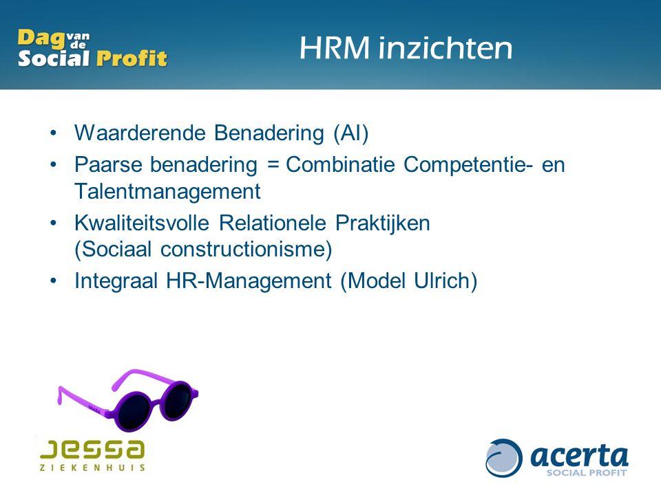 HRM inzichten Waarderende Benadering (AI) Paarse benadering = Combinatie Competentie- en Talentmanagement Kwaliteitsvolle Relationele Praktijken (Sociaal constructionisme) Integraal HR-Management (Model Ulrich)