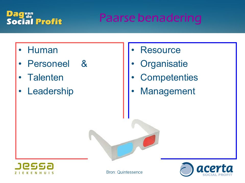 Paarse benadering Human Personeel & Talenten Leadership Resource Organisatie Competenties Management Bron: Quintessence